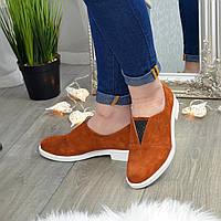 Туфли замшевые рыжие женские на маленьком каблуке. 37 размер