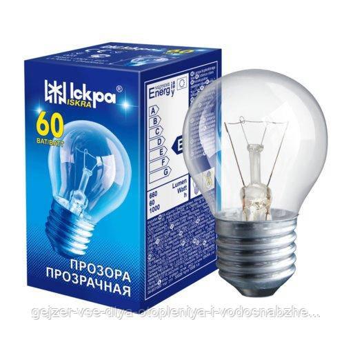 Лампа накаливания ЛЗП Іскра PS45 230B 60Вт Е27 прозрачная (Шар)