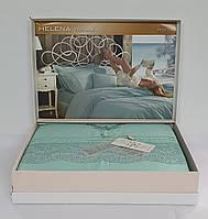 Постельное белье Maison D'or сатин с кружевом 200х220 Helena Torquoise