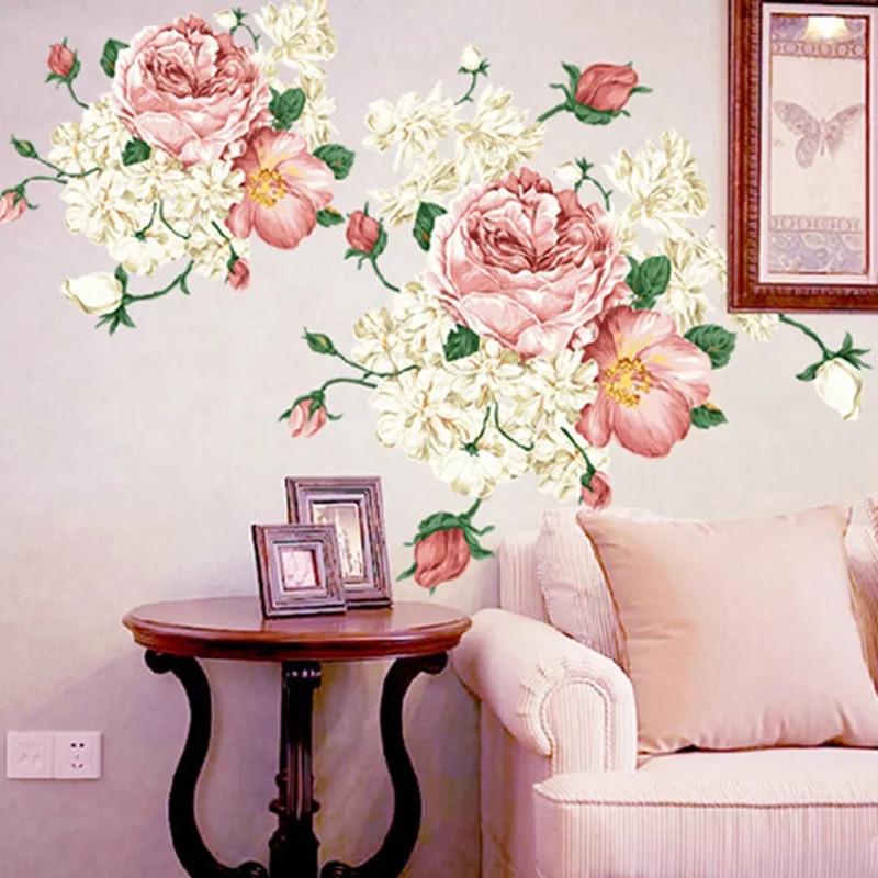 """Наклейка на стену, окна, зеркала, шкафы """"пионы розово-белые"""" (лист 60*90см)"""