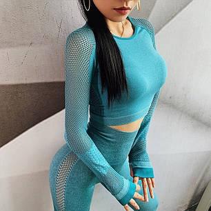 """Жіночий спортивний костюм для фітнесу лосини + топ """"Зелений"""", фото 2"""