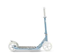 Детский складной 2-х колесный бело голубой самокат MID 7 с подножкой, фото 1