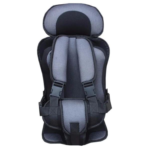 Портативное бескаркасное детское автокресло (серое с черным)