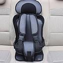 Портативное бескаркасное детское автокресло (серое с черным), фото 7