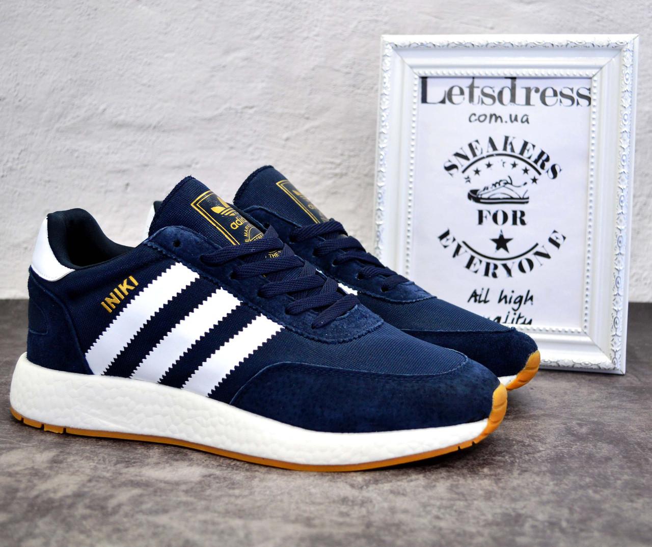 ✅ Кросівки чоловічі Adidas Iniki Runner Boost замш і сітка адідас иники ранер
