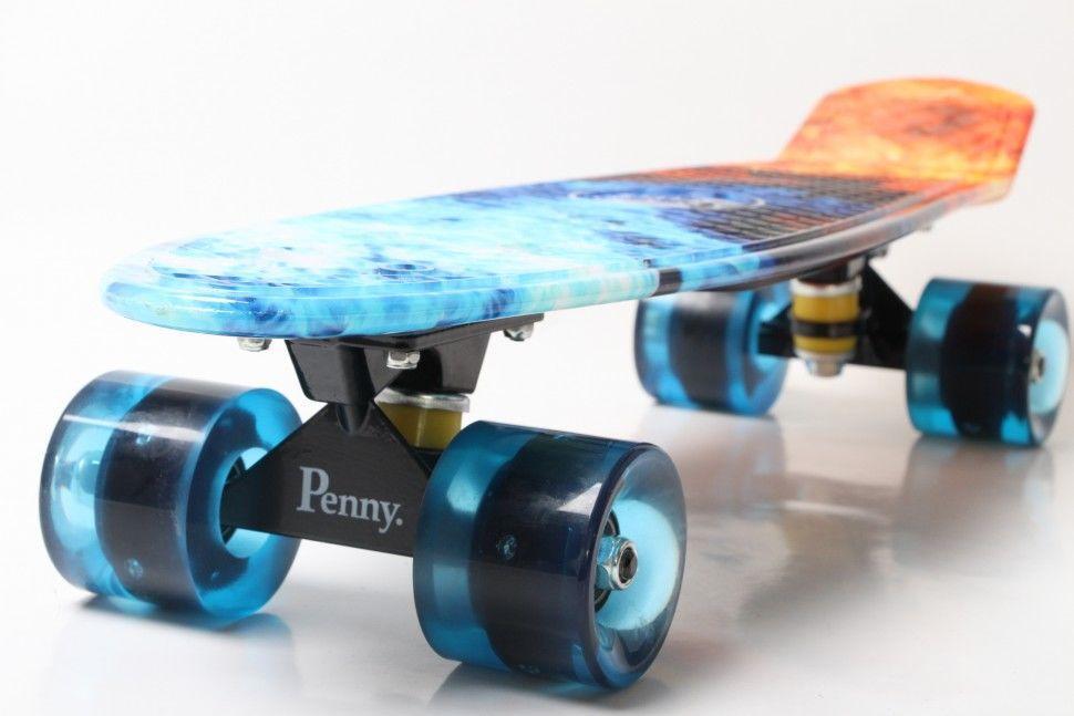 Скейт Пенни борд Penny Board Пенні Print Led 22 -  Огонь и Лед 54 см