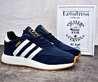 Кроссовки мужские Adidas Iniki Runner Boost замш и сетка адидас иники ранер синие 45