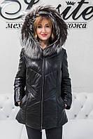 Куртка Кожаная Утепленная С Чернобуркой 018ТП