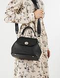 Женская кожаная сумочка-саквояж GALVANI GIRONA BLACK, фото 2
