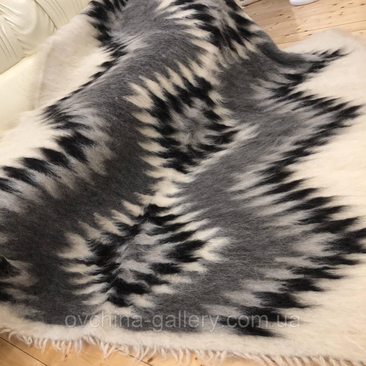 Лижник Карпатский плед из шерсти Натуральные цвета 200х220