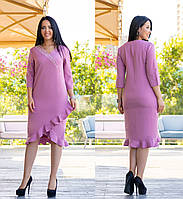 Платье батал с декором NOBILITAS 48 - 54 сиреневое (мод. 19049)