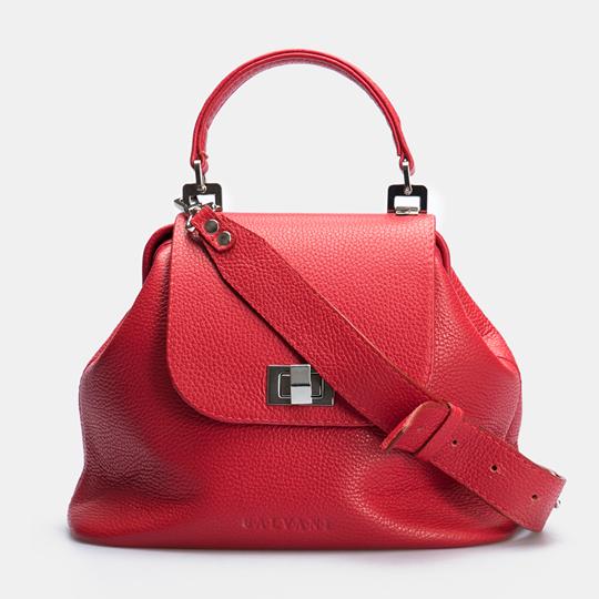 Женская кожаная сумочка-саквояж GALVANI SACVOYAGE RED