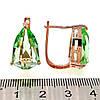 Серьги SONATA из медицинского золота, оливковые фианиты, позолота PO, 23414                                   , фото 2