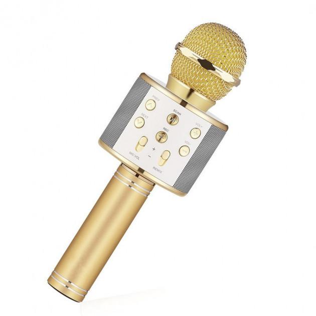 Беспроводной караоке микрофон WS-858 Bluetooth USB FM Золото