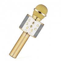 Беспроводной караоке микрофон WS-858 Bluetooth USB FM Золото, фото 1