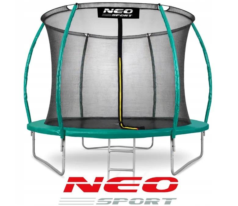 Батут NeoSport 312 см с защитной сеткой и лестницей для детей и взрослых