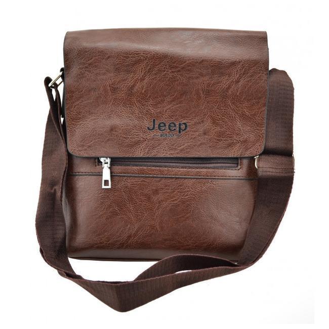 Мужская сумка из эко-кожи JEEP 866 через плечо коричневая
