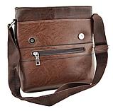Мужская сумка из эко-кожи JEEP 866 через плечо коричневая, фото 3
