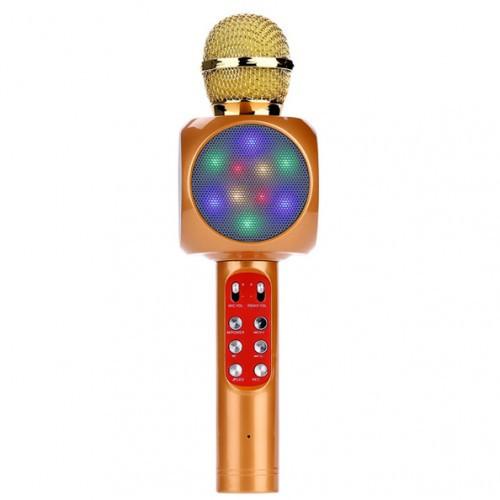 Беспроводной Bluetooth караоке микрофон WS-1816 в чехле (золото)