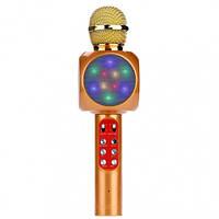 Беспроводной Bluetooth караоке микрофон WS-1816 в чехле (золото), фото 1