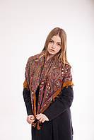 Платок шерстяной с кисточками (коричневый), фото 1