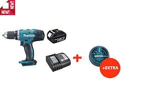 Аккумуляторная дрель-шуруповерт Makita DDF453Z+набор бит+акк.18V 3 Ah+ЗУ (DDF453SFX)