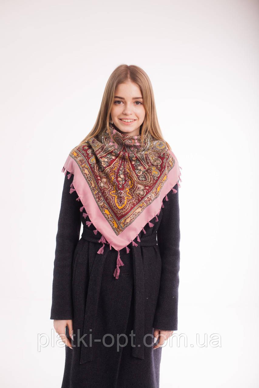 Платок шерстяной с кисточками (розовый)