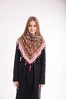 Платок шерстяной с кисточками (розовый), фото 1