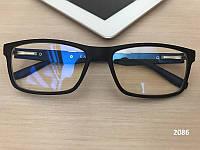 Черные очки для компьютера с синими дужками, прямоугольные. Модель ЕАЕ 2086, фото 1