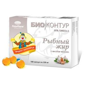 Рыбный жир с маслом чеснока пищевой Биоконтур 100капс.