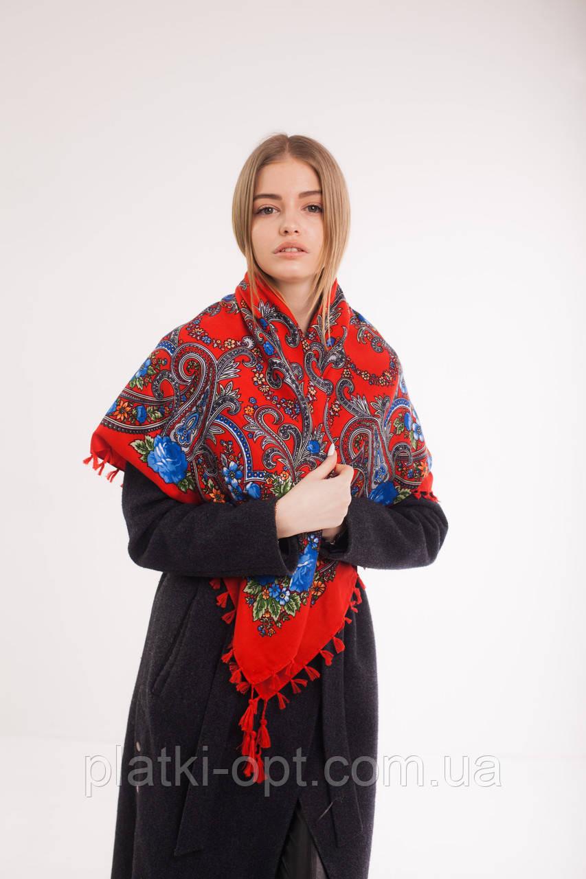Платок шерстяной с кисточками (красный+синий)