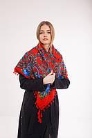 Платок шерстяной с кисточками (красный+синий), фото 1