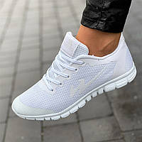 Кроссовки женские для бега белые сетка (Код: М1680)