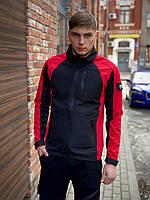 Мужская куртка Intruder Intruder SoftShell Lite 'iForce с капюшоном, спортивная ветровка черно-красная