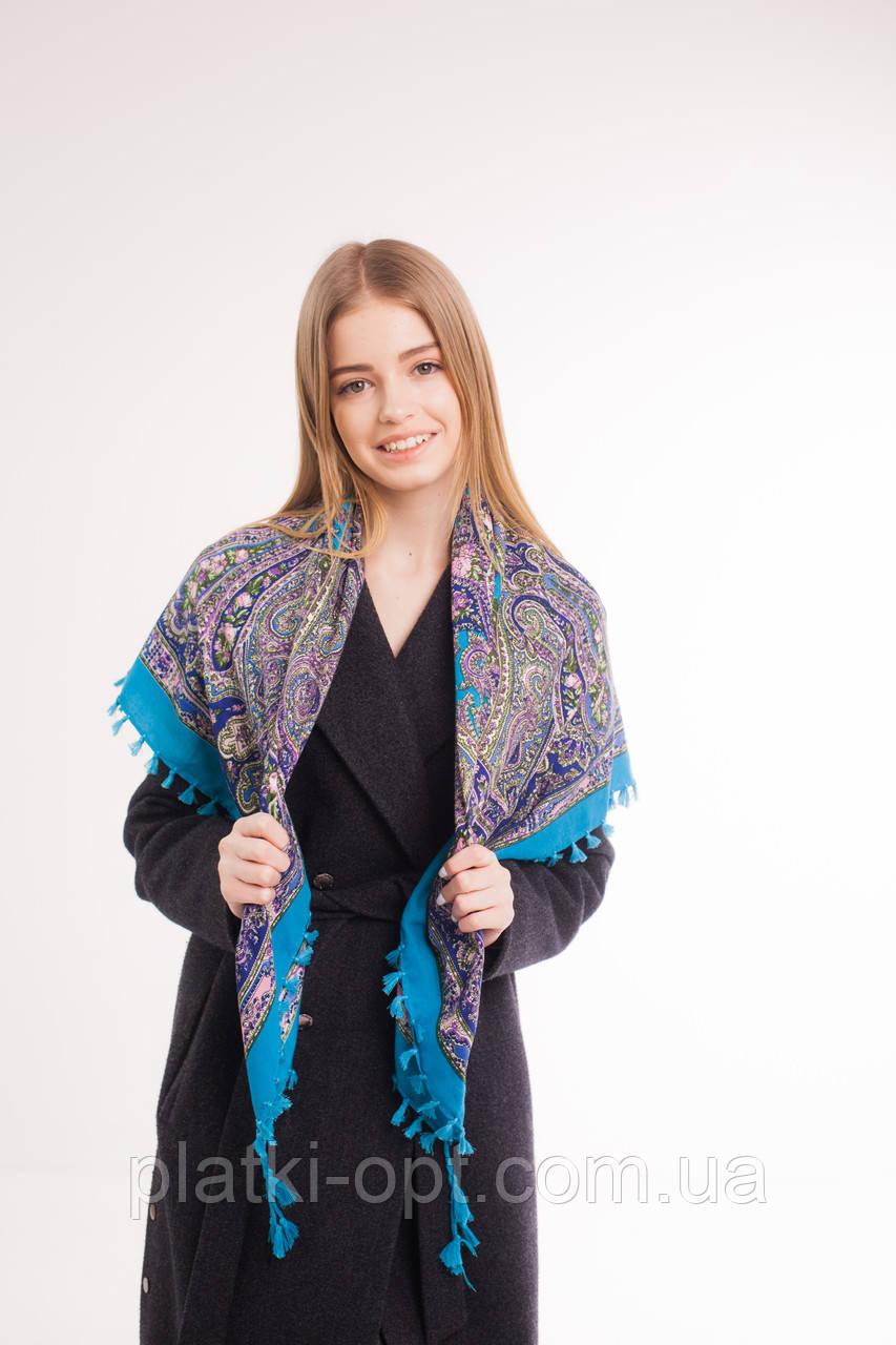 Платок шерстяной с кисточками (голубой)
