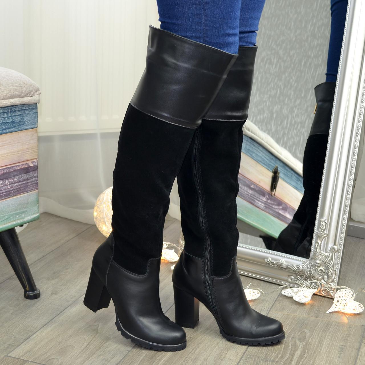 Ботфорты женские зимние на каблуке, 37 размер