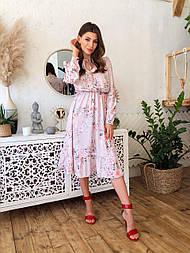 Женское нежное платье с цветочным принтом и рюшами
