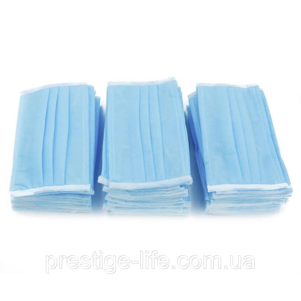 Маска защитная трехслойная 1000 шт на резинках, Синяя