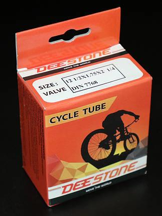 Камера велосипедная 12 1/2x1.75x2 1/4 DIN 7768, изогнутый (кривой) вентиль Deestone (Таиланд), фото 2