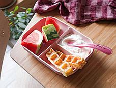 Набор из силиконовой порционной тарелки и ложки  - розовый , арт. 913456, фото 2