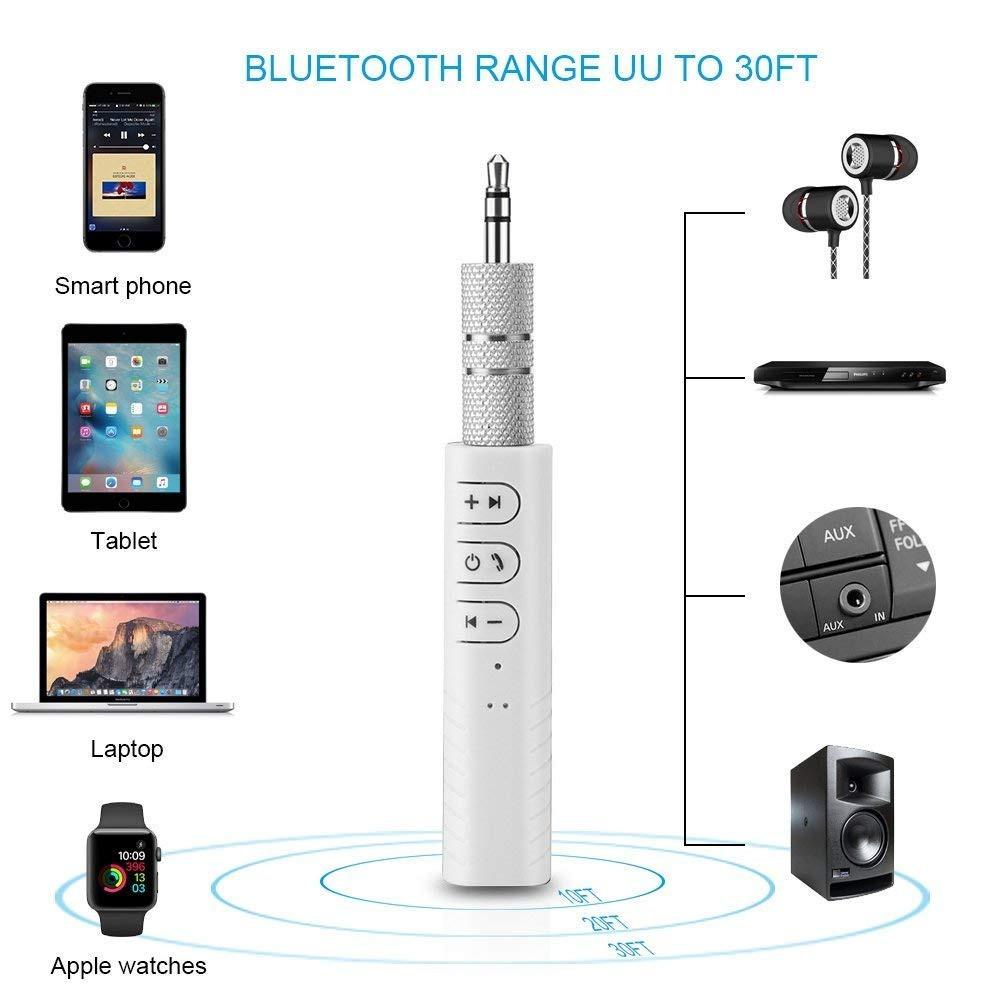 Беспроводной приемник BT-450 Bluetooth 4.1 аудио AUX 3.5 mm для наушников/колонок/авто  White