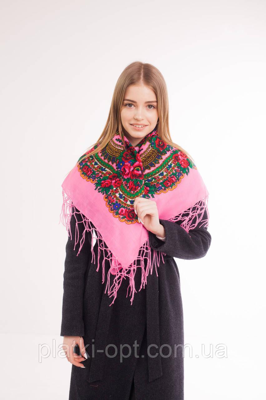 Платок шерстяной с бахромой (розовый)