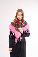 Платок шерстяной с бахромой (розовый), фото 1