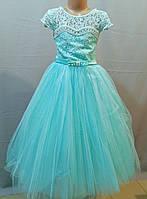 Бальное платье бирюза для девочки до 6,7, 8 лет лет, фото 1