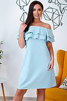 Большое платье с оборками голубое, фото 1