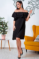 Большое платье с оборками черное, фото 1