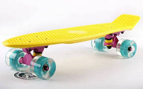 Скейтборд пластиковый Penny LED WHEELS FISH 22in со светящимися колесами SK-405-1