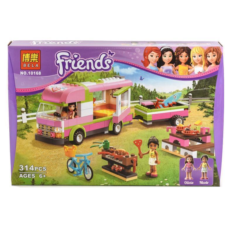 Конструктор FRN, пикник, автобус с прицепом, фигурки, 314 деталей