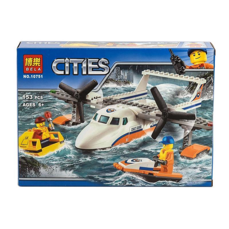 Конструктор BELA город,самолет, водн.скутер, фигурки, 153 деталей
