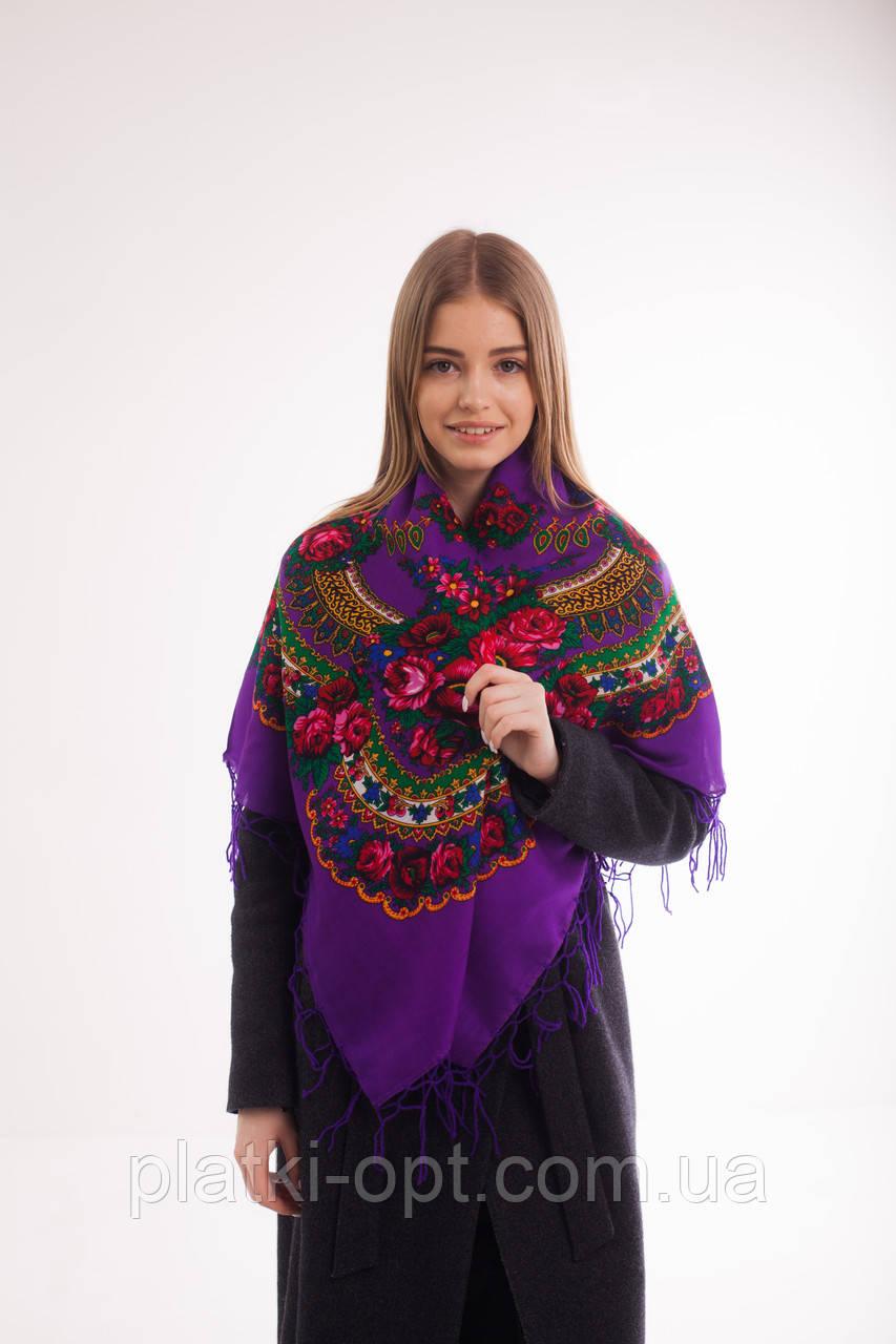 Платок шерстяной с бахромой (фиолетовый)
